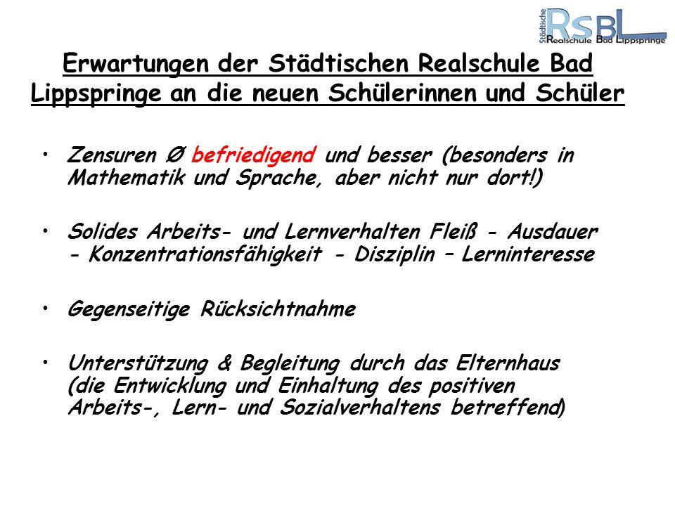 Erwartungen der Städtischen Realschule Bad Lippspringe an die neuen Schülerinnen und Schüler