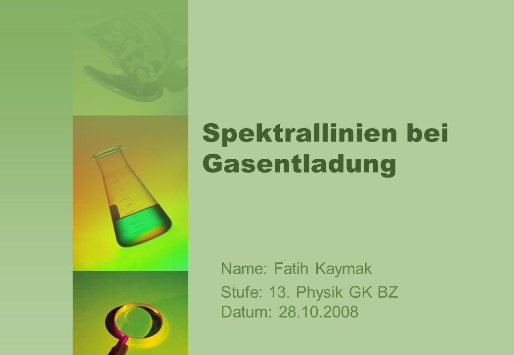Spektrallinien bei Gasentladung