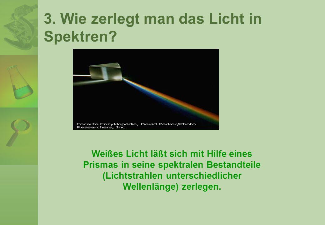 3. Wie zerlegt man das Licht in Spektren