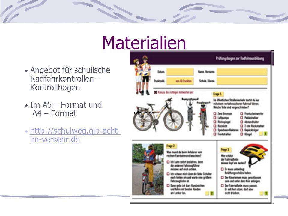 Materialien Angebot für schulische Radfahrkontrollen – Kontrollbogen