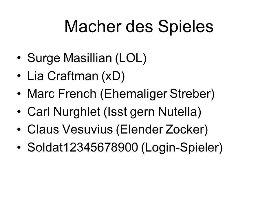 Macher des Spieles Surge Masillian (LOL) Lia Craftman (xD)