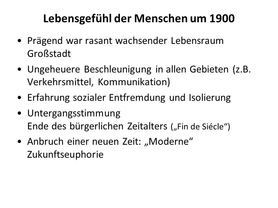 Lebensgefühl der Menschen um 1900