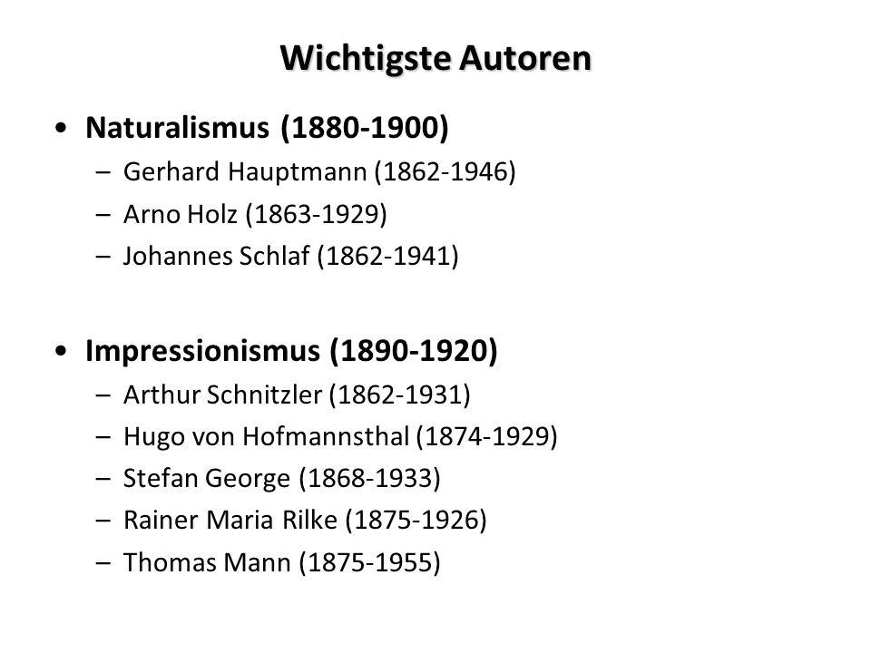 Wichtigste Autoren Naturalismus (1880-1900)