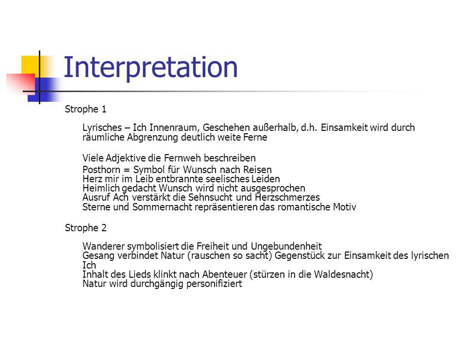 Interpretation Strophe 1 Lyrisches – Ich Innenraum, Geschehen außerhalb, d.h. Einsamkeit wird durch räumliche Abgrenzung deutlich weite Ferne.