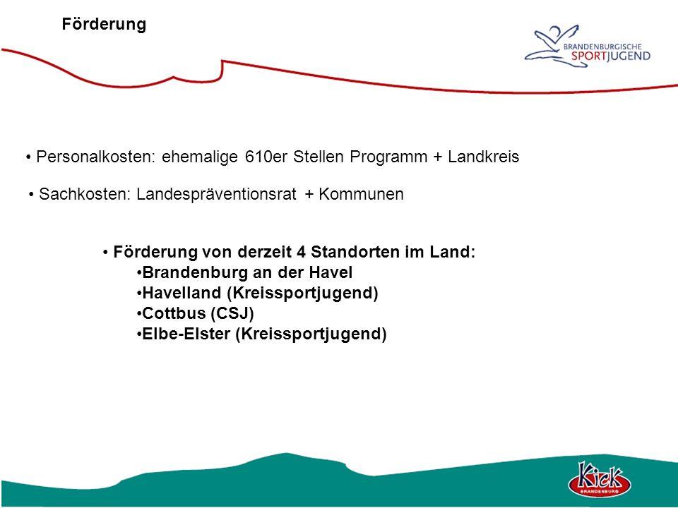 Förderung Personalkosten: ehemalige 610er Stellen Programm + Landkreis. Sachkosten: Landespräventionsrat + Kommunen.