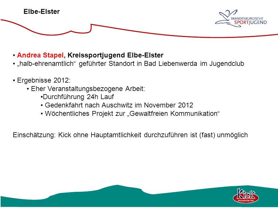 "Elbe-Elster Andrea Stapel, Kreissportjugend Elbe-Elster. ""halb-ehrenamtlich geführter Standort in Bad Liebenwerda im Jugendclub."