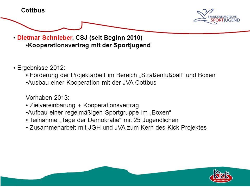 Cottbus Dietmar Schnieber, CSJ (seit Beginn 2010) Kooperationsvertrag mit der Sportjugend. Ergebnisse 2012: