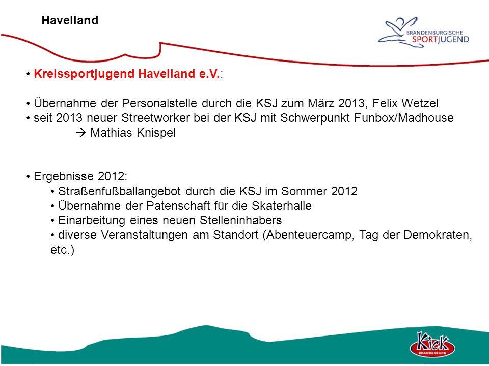 Havelland Kreissportjugend Havelland e.V.: Übernahme der Personalstelle durch die KSJ zum März 2013, Felix Wetzel.