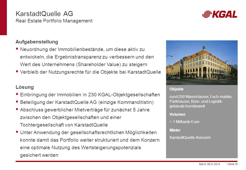 KarstadtQuelle AG Real Estate Portfolio Management