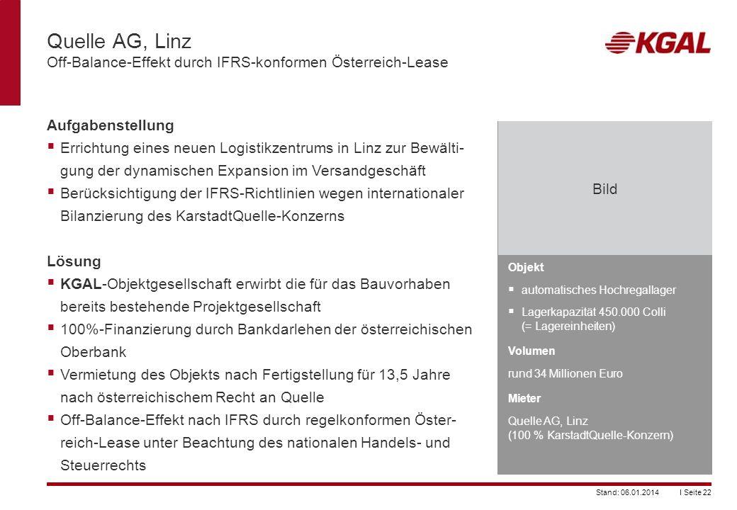 Quelle AG, Linz Off-Balance-Effekt durch IFRS-konformen Österreich-Lease