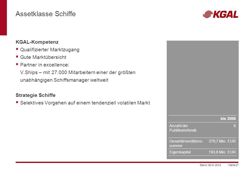Assetklasse Schiffe KGAL-Kompetenz Qualifizierter Marktzugang