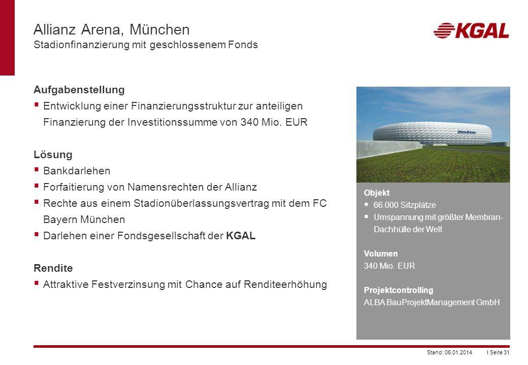 Allianz Arena, München Stadionfinanzierung mit geschlossenem Fonds