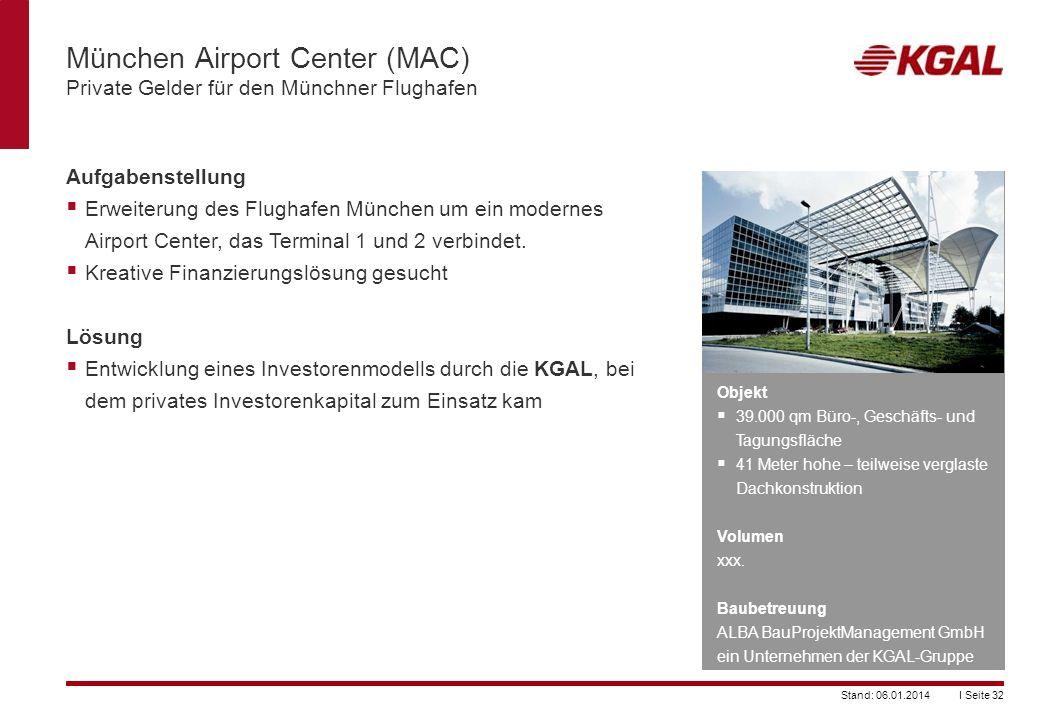 München Airport Center (MAC) Private Gelder für den Münchner Flughafen
