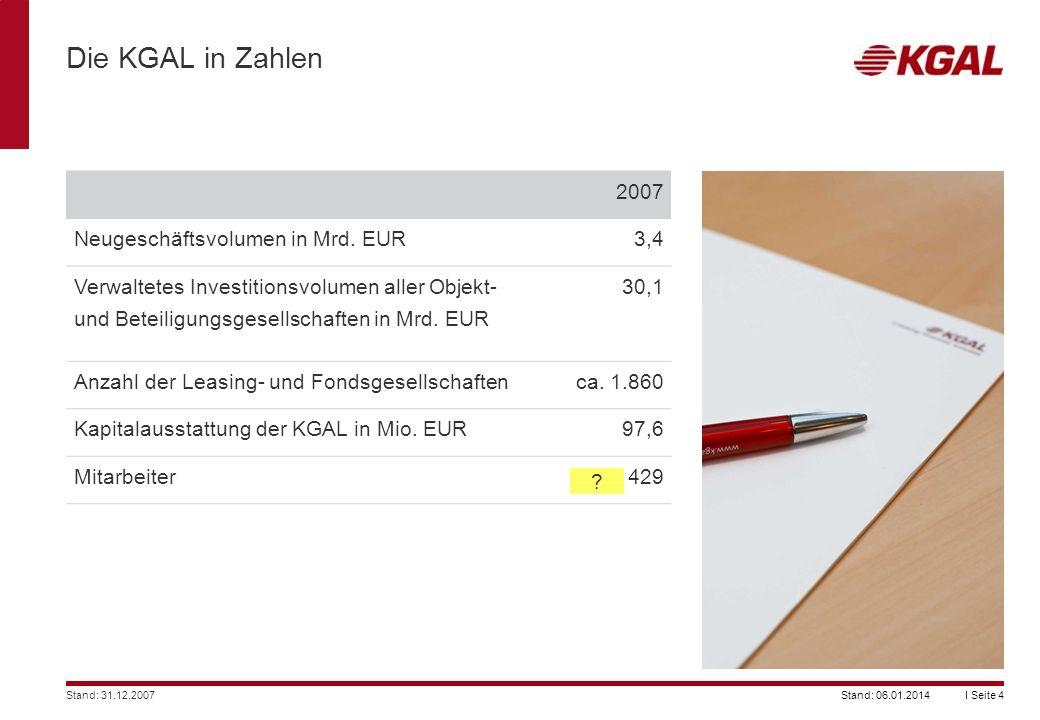 Die KGAL in Zahlen 2007 Neugeschäftsvolumen in Mrd. EUR 3,4