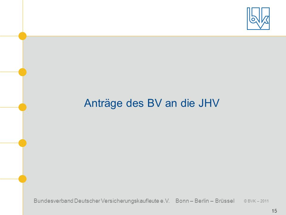 Anträge des BV an die JHV