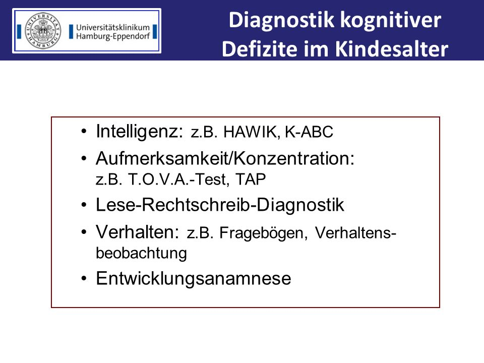 Diagnostik kognitiver Defizite im Kindesalter