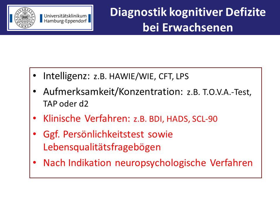 Diagnostik kognitiver Defizite bei Erwachsenen