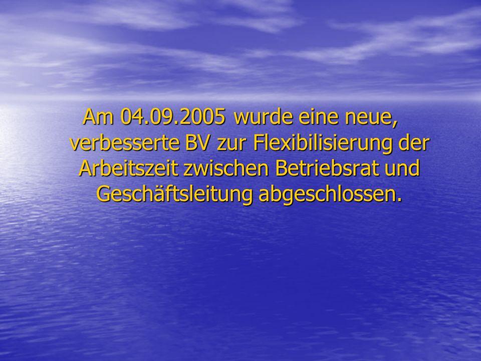 Am 04.09.2005 wurde eine neue, verbesserte BV zur Flexibilisierung der Arbeitszeit zwischen Betriebsrat und Geschäftsleitung abgeschlossen.