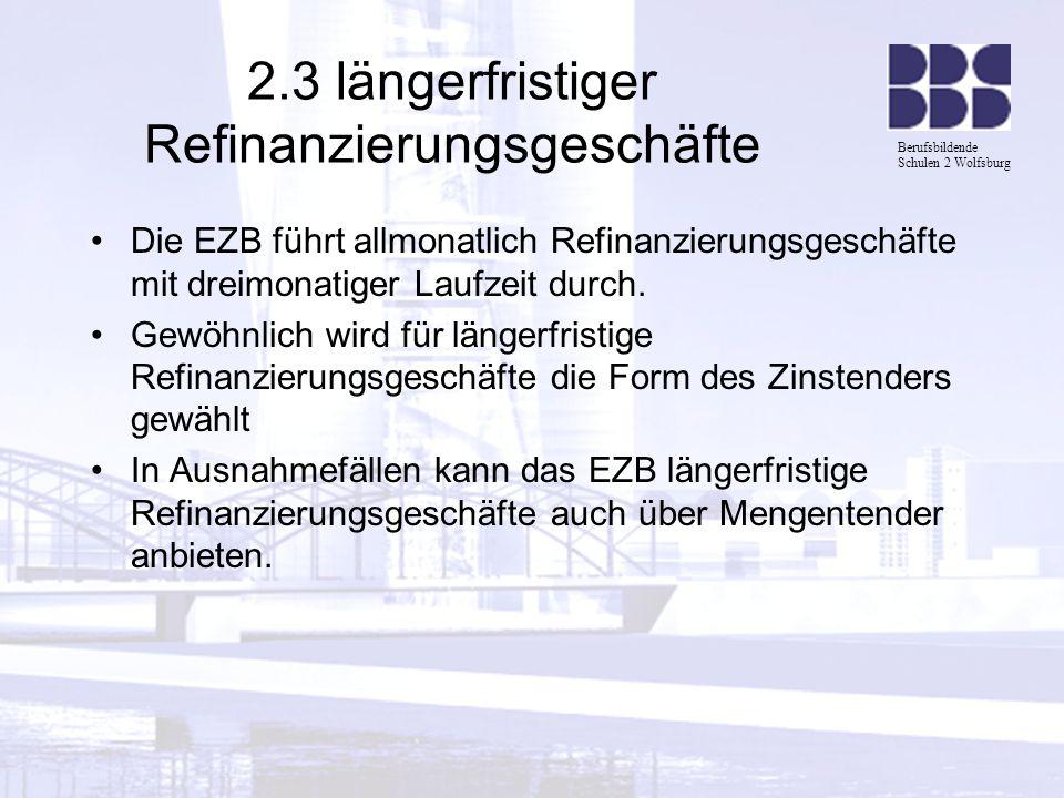 2.3 längerfristiger Refinanzierungsgeschäfte