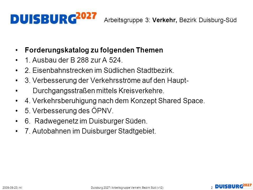Arbeitsgruppe 3: Verkehr, Bezirk Duisburg-Süd