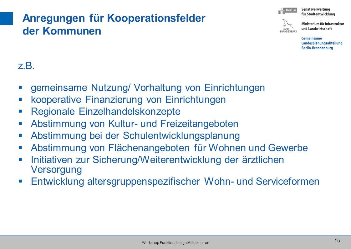 Anregungen für Kooperationsfelder der Kommunen