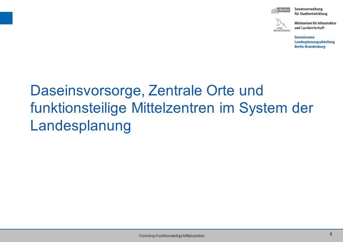 Daseinsvorsorge, Zentrale Orte und funktionsteilige Mittelzentren im System der Landesplanung