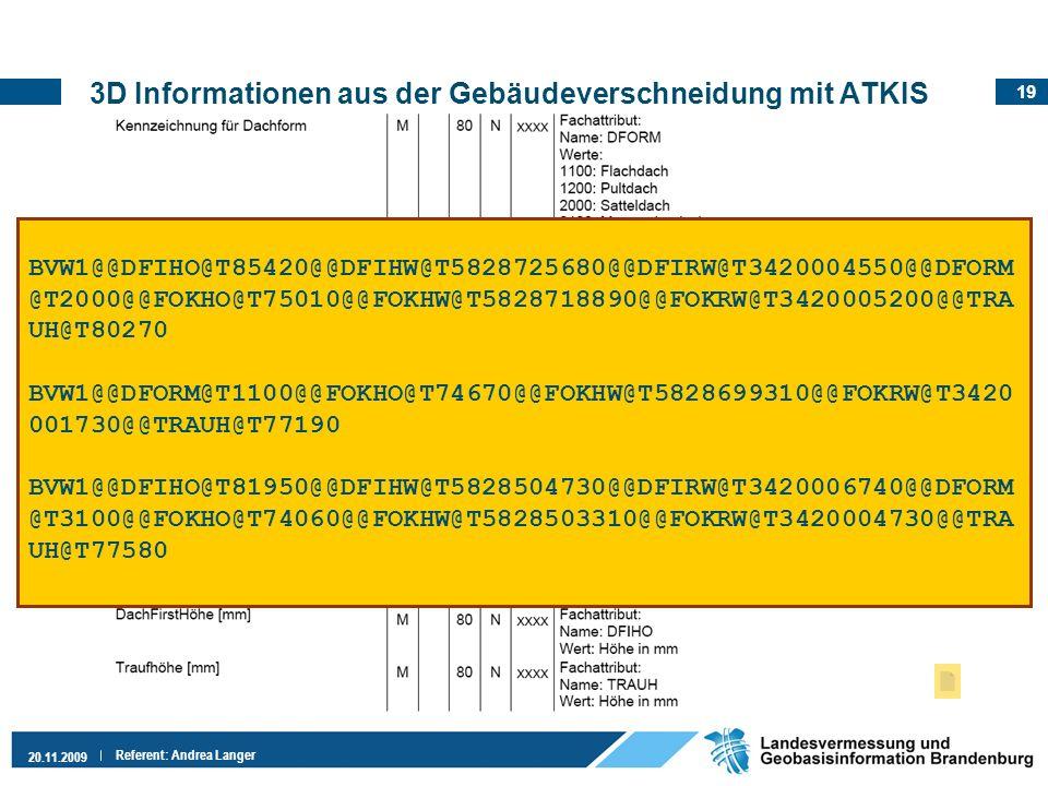 3D Informationen aus der Gebäudeverschneidung mit ATKIS