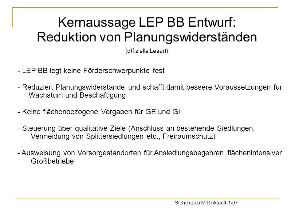Kernaussage LEP BB Entwurf: Reduktion von Planungswiderständen