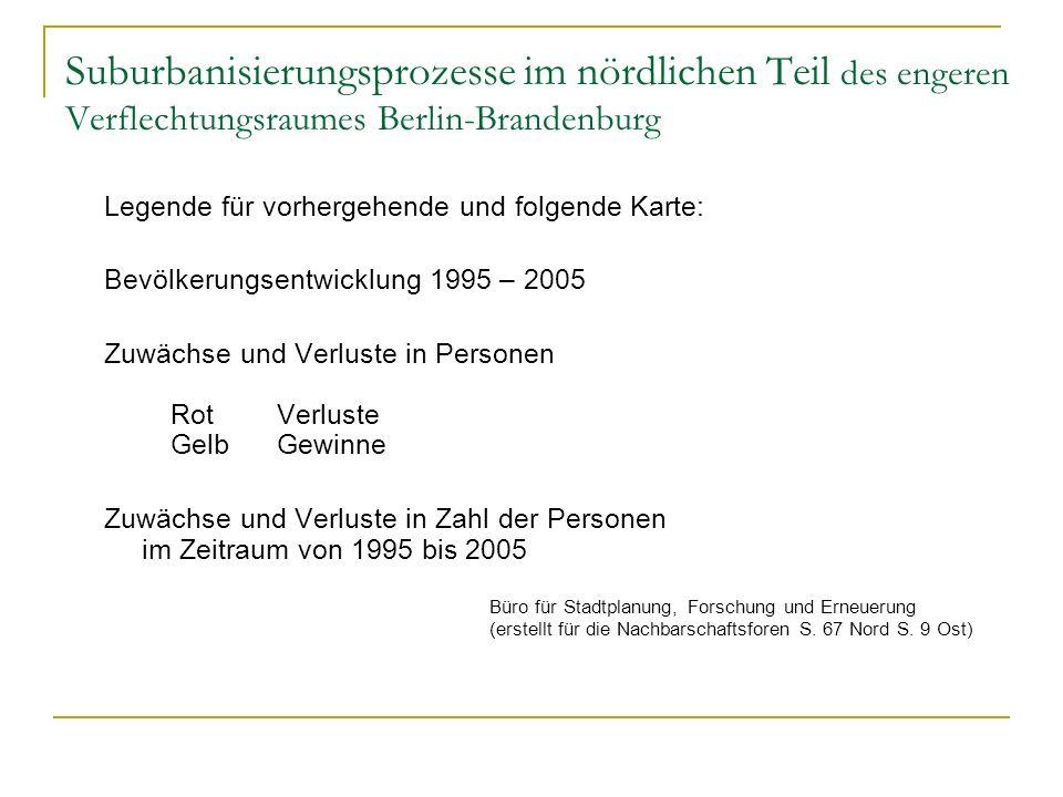 Suburbanisierungsprozesse im nördlichen Teil des engeren Verflechtungsraumes Berlin-Brandenburg