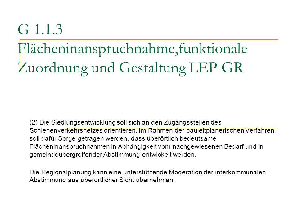 G 1.1.3 Flächeninanspruchnahme,funktionale Zuordnung und Gestaltung LEP GR