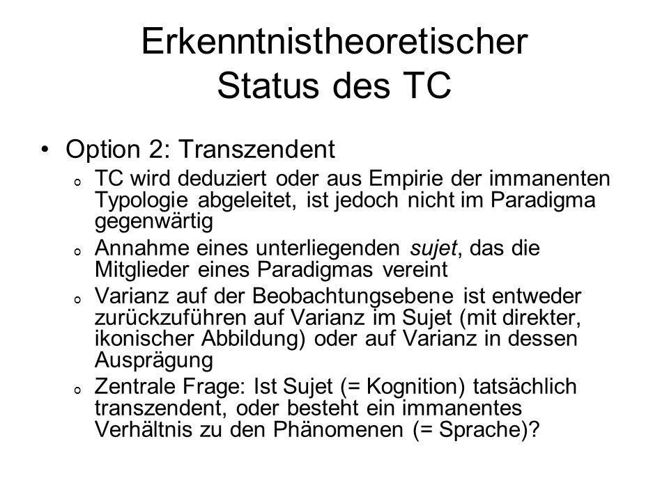 Erkenntnistheoretischer Status des TC