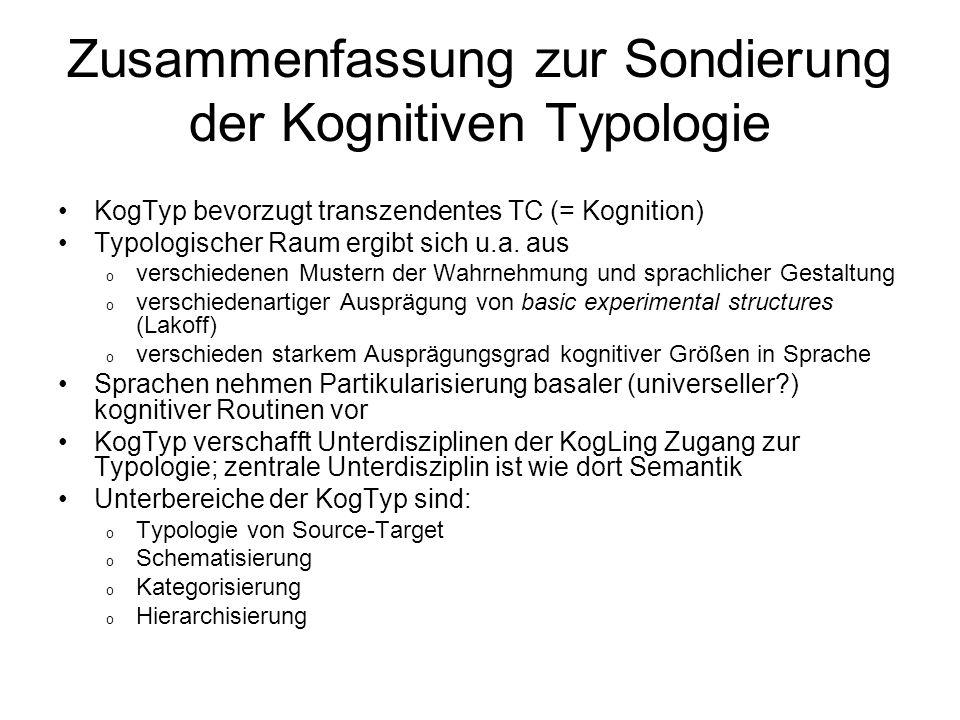 Zusammenfassung zur Sondierung der Kognitiven Typologie