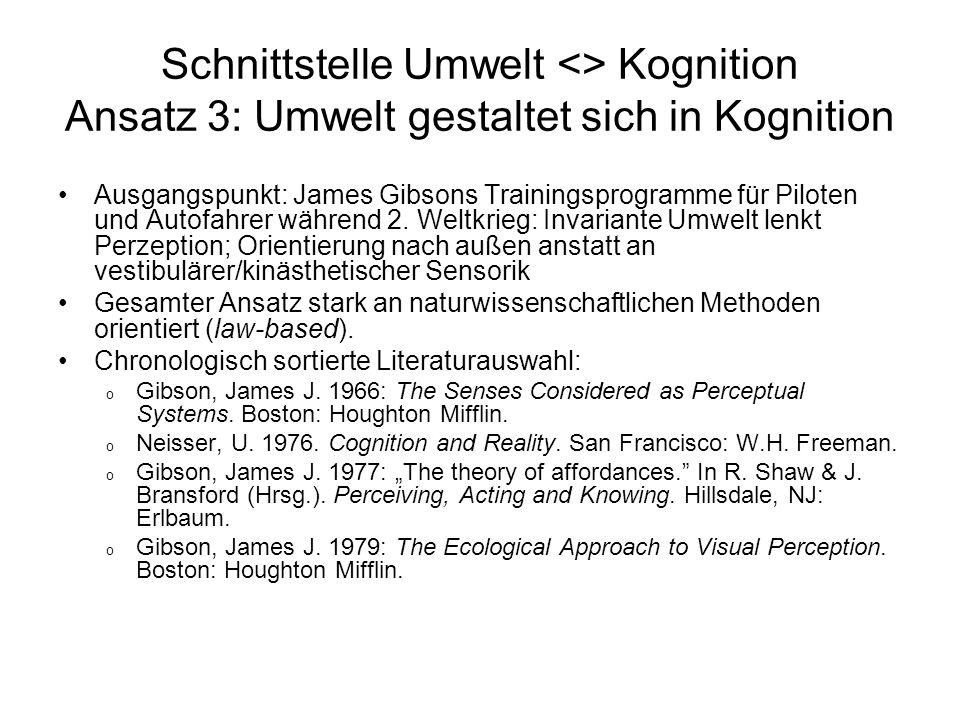 Schnittstelle Umwelt <> Kognition Ansatz 3: Umwelt gestaltet sich in Kognition
