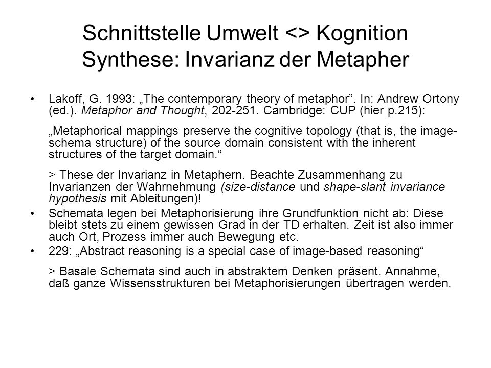 Schnittstelle Umwelt <> Kognition Synthese: Invarianz der Metapher