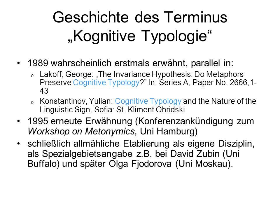 """Geschichte des Terminus """"Kognitive Typologie"""