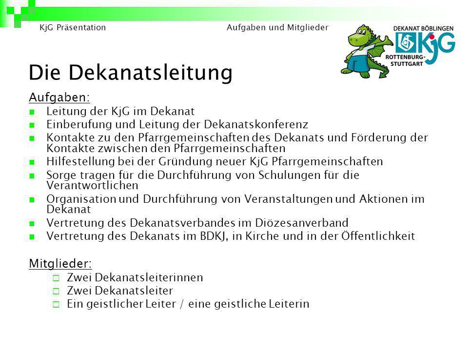 Die Dekanatsleitung Aufgaben: Mitglieder: Leitung der KjG im Dekanat