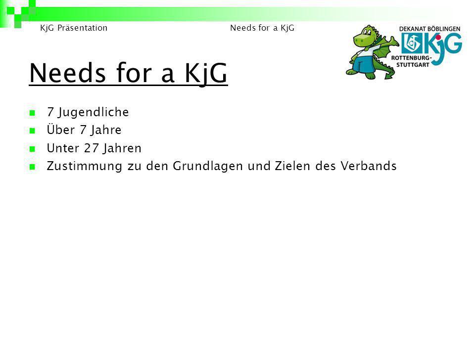 Needs for a KjG 7 Jugendliche Über 7 Jahre Unter 27 Jahren