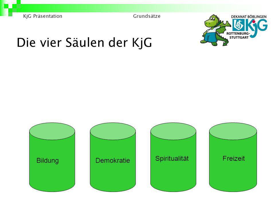 Die vier Säulen der KjG Spiritualität Freizeit Bildung Demokratie