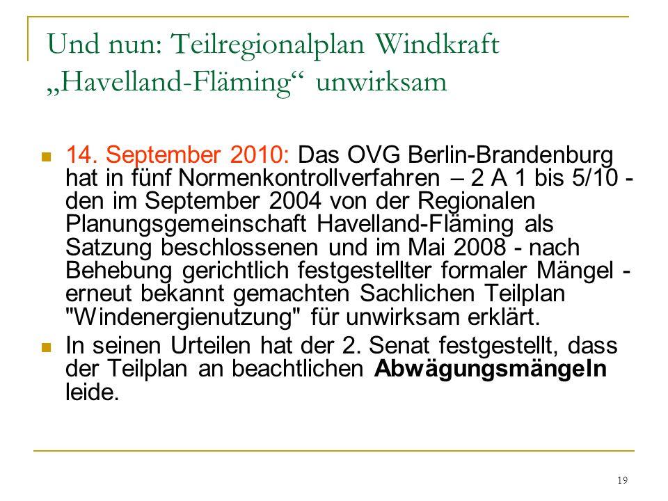 """Und nun: Teilregionalplan Windkraft """"Havelland-Fläming unwirksam"""
