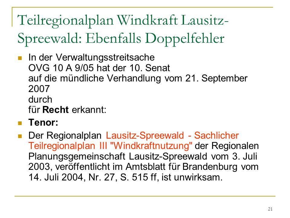 Teilregionalplan Windkraft Lausitz-Spreewald: Ebenfalls Doppelfehler