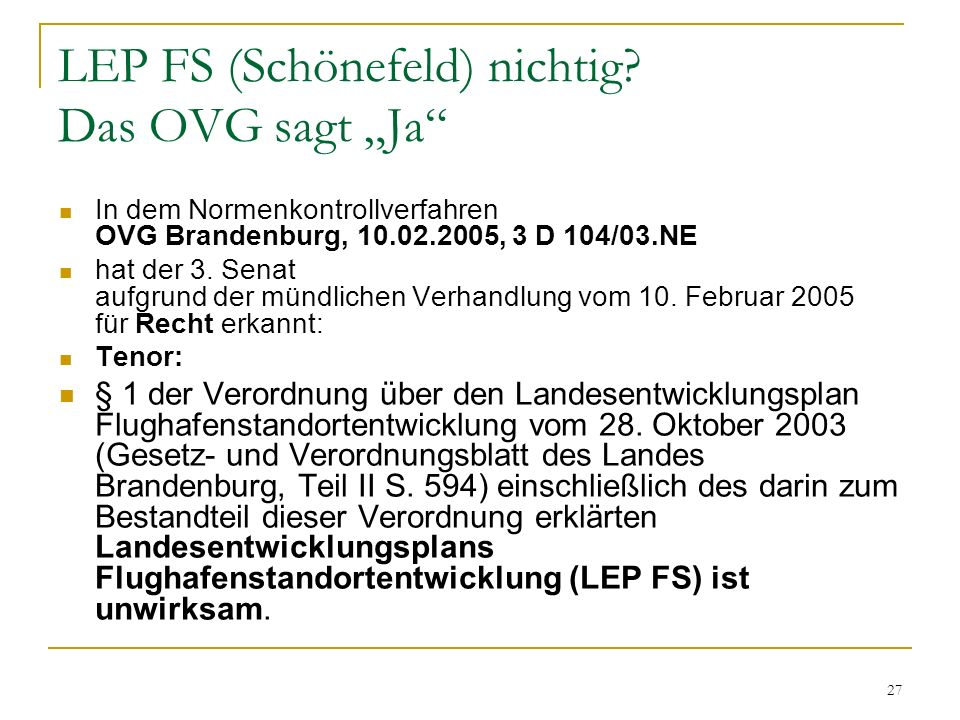 """LEP FS (Schönefeld) nichtig Das OVG sagt """"Ja"""