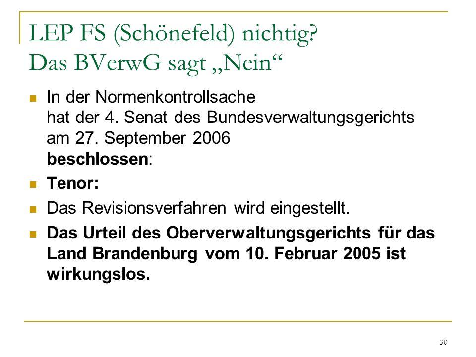 """LEP FS (Schönefeld) nichtig Das BVerwG sagt """"Nein"""