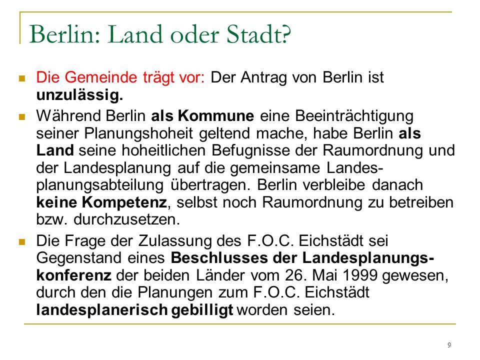 Berlin: Land oder Stadt