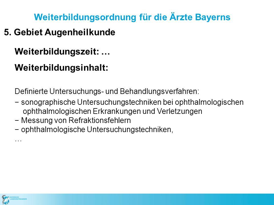 Weiterbildungsordnung für die Ärzte Bayerns