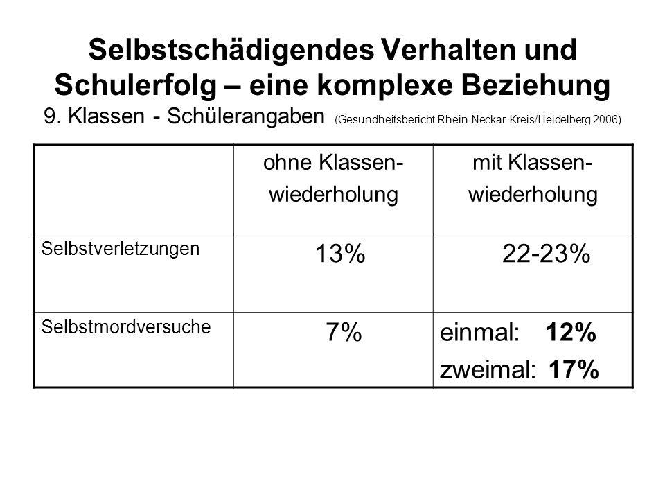 Selbstschädigendes Verhalten und Schulerfolg – eine komplexe Beziehung 9. Klassen - Schülerangaben (Gesundheitsbericht Rhein-Neckar-Kreis/Heidelberg 2006)
