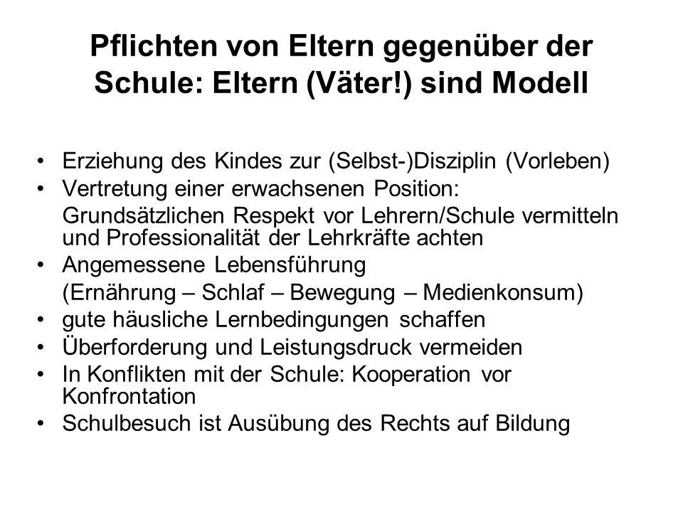 Pflichten von Eltern gegenüber der Schule: Eltern (Väter!) sind Modell