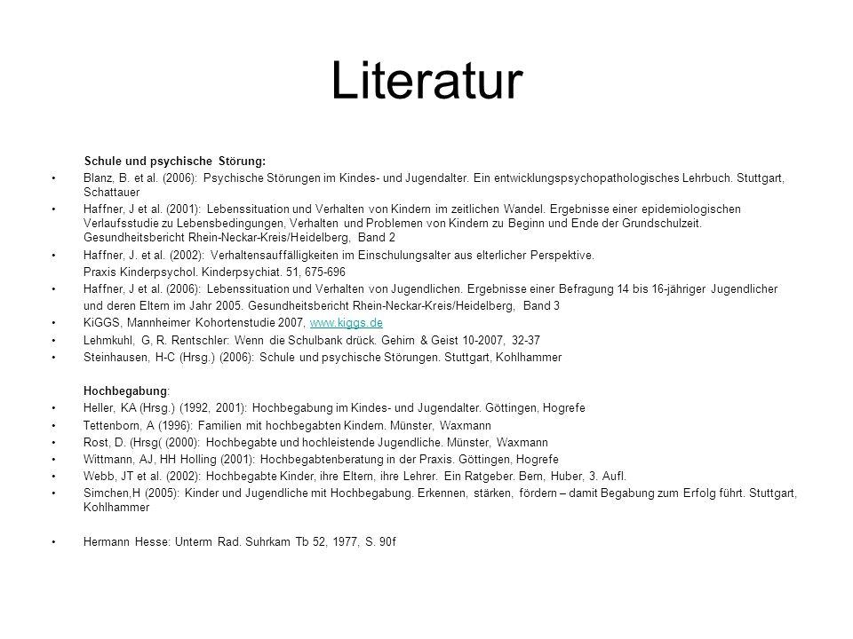 Literatur Schule und psychische Störung: