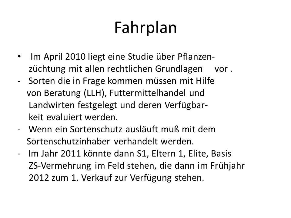 Fahrplan Im April 2010 liegt eine Studie über Pflanzen-