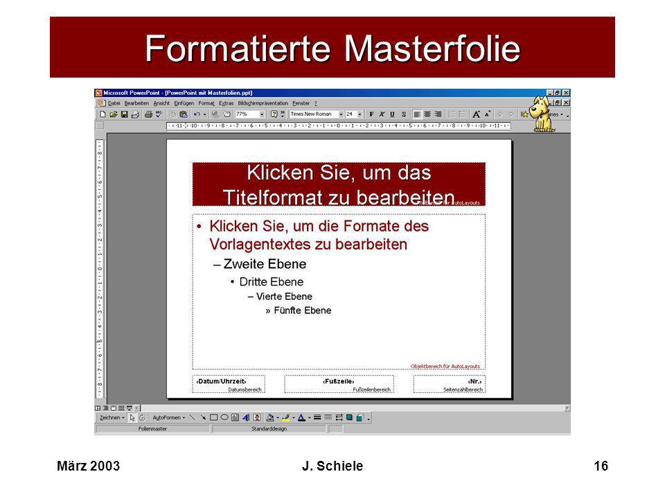 Formatierte Masterfolie