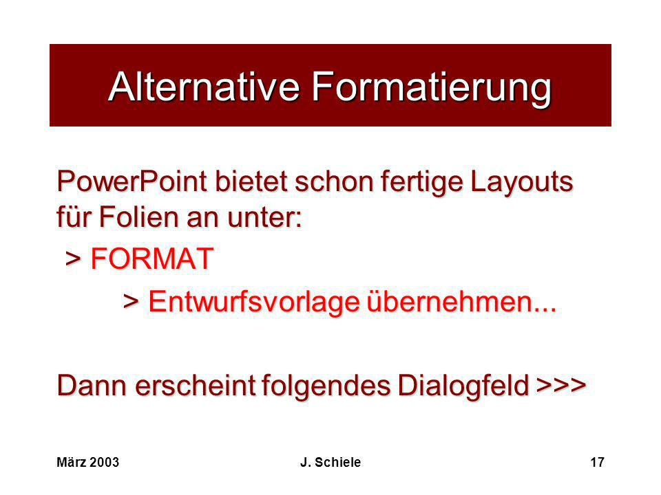 Alternative Formatierung